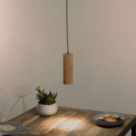 Jednozdrojové LED závěsné světlo Pipe dubové dřevo
