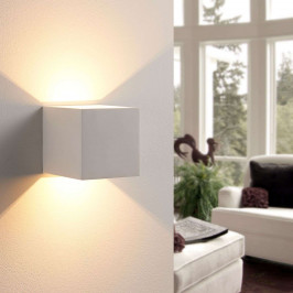 Kostková nástěnná LED lampa Kay ze sádry