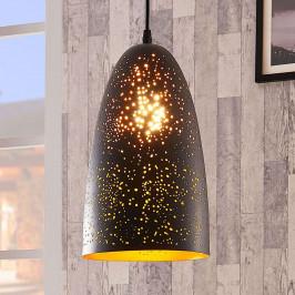 Černo-zlatá závěsná lampa Tola z kovu