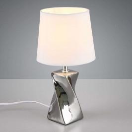 Stolní lampa Abeba, Ø 15 cm, bílo-stříbrná