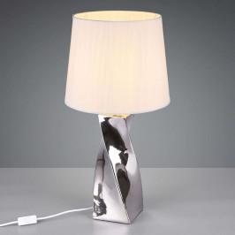 Stolní lampa Abeba, Ø 34 cm, bílo-stříbrná