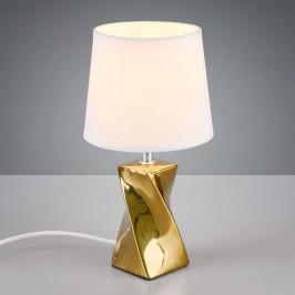 Stolní lampa Abeba, Ø 15 cm, bílo-zlatá