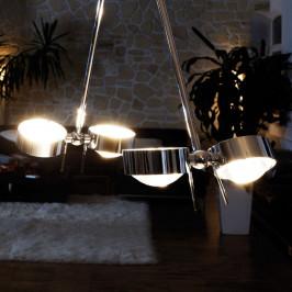 Závěsné světlo PUK CEILING; 4zdr chrom 80 cm