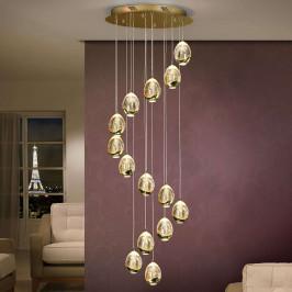 LED závěsná lampa Rocio, 14 žárovek, zlatá