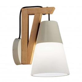 Nástěnné světlo Lucas s dřevěnou základnou