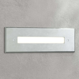 LED nástěnné vestavné svítidlo Doga, nerez 19,5 cm