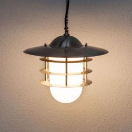 Dekorativní venkovní závěsná lampa Mian, nerez