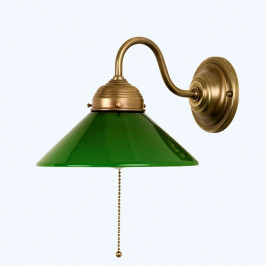 Nástěnné světlo KONRAD, zelené skleněné stínidlo