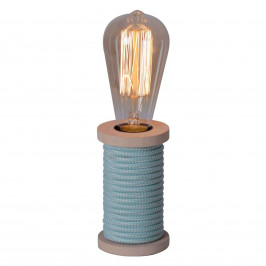 Näve Stolní lampa Max s dřevěnou nohou modrá