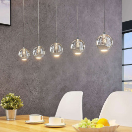 LED závěsné světlo Hayley, 5zdrojové podélné chrom