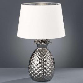 Stříbrnobílá - keramická stolní lampa Pineapple