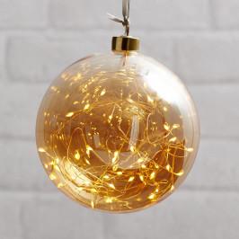 Best Season Glow LED dekorační koule ze skla, Ø 15 cm jantar