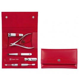 Zwilling Classic Inox manikúra s kleštěmi na kůžičku, červená kůže, 5 ks