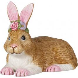 Villeroy & Boch Easter Bunnies ležící zajíček s věnečkem, 8,5 x 15 cm