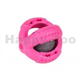 Hračka FLAMINGO guma - míč s míčem uvnitř malinový 11cm