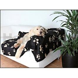 Flaušová deka TRIXIE Barney 150x100cm - černá s béžovými tlapkam