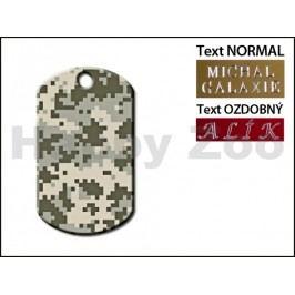 QUICK TAG gravírovací známka - šedá maskáčová armádní známka (L)