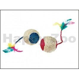 Hračka pro kočky KARLIE-FLAMINGO - sisalový míček s peřím, chras
