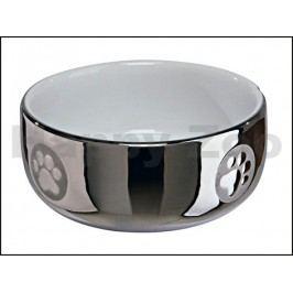 Keramická miska TRIXIE pro kočky stříbrná s tlapkami 0,3l (11cm)