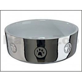 Keramická miska TRIXIE stříbrná s tlapkami 0,3l (12cm)