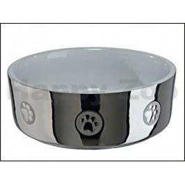 Keramická miska TRIXIE stříbrná s tlapkami 0,8l (15cm)