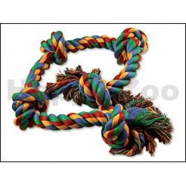 Hračka DOG FANTASY bavlna - uzel barevný 95cm (5 uzlů)