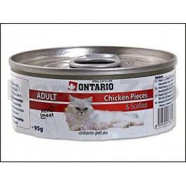Konzerva ONTARIO Cat Chicken Pieces & Scallop 95g