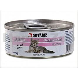 Konzerva ONTARIO Cat Junior Chicken Pieces & Shrimp 95g