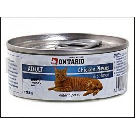Konzerva ONTARIO Cat Chicken Pieces & Salmon 95g