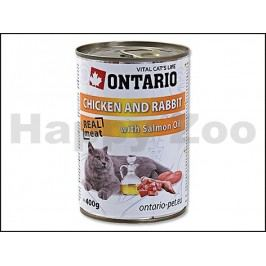Konzerva ONTARIO Cat Chicken & Rabbit with Salmon Oil 400g