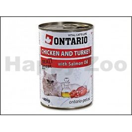 Konzerva ONTARIO Cat Chicken & Turkey with Salmon Oil 400g