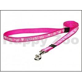 Vodítko ROGZ Fancy Dress HL 12 CA-Pink Paws (M) 1,6x140cm