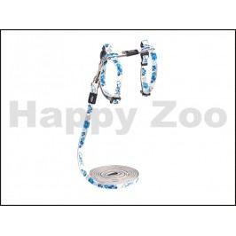 Postroj s vodítkem ROGZ Catz GlowCat CLJ 209 B-Blue Floral (XS)