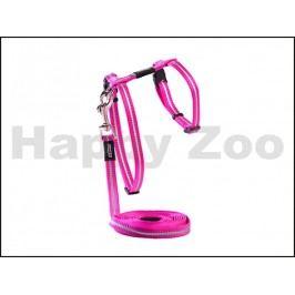Postroj s vodítkem ROGZ Catz AlleyCat CLJ 216 K-Pink (XS) 0,8x20