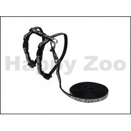 Postroj s vodítkem ROGZ Catz SparkleCat CLJ 252 A-Black (XS) 0,8