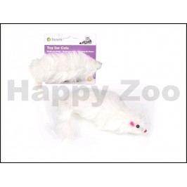 Hračka pro kočky TOMMI - bíllá chlupatá myš 15cm