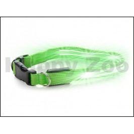Svítící/blikající obojek JK LED zelený (XS) 2x29-37cm