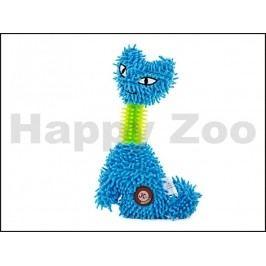 Hračka JK plyš - kočka s TPR krkem modrá 23cm