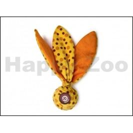 Hračka JK plyš - šustící uzel s TPR míčkem žlutý 25cm
