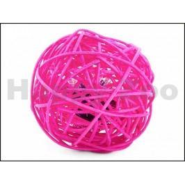 Hračka pro kočky JK - ratanová koule růžová 6cm