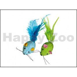 Hračka pro kočky KARLIE-FLAMINGO - barevná myš s peřím a catnipe