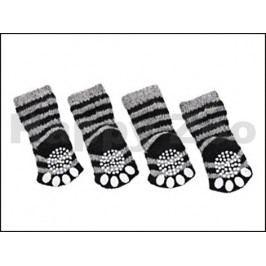 Ponožky FLAMINGO pro psy s protiskluzovým povrchem černošedé (XS