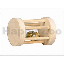Hračka pro hlodavce FLAMINGO - dřevěný válec s rolničkou 5x7cm