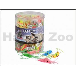 Hračka pro kočky FLAMINGO - plastová kreveta 1,5x6cm (MIX BAREV)