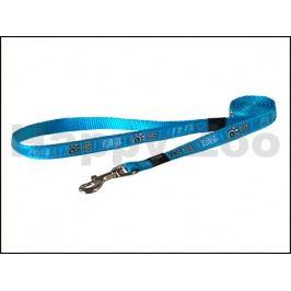 Vodítko ROGZ Fancy Dress HL 12 CH-Turquoise Paws (M) 1,6x140cm