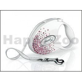 FLEXI Glam Splash Pink (S) White (do 12kg, 3m pásek)