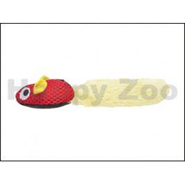 Hračka pro kočky FLAMINGO - červená myš s bílým ocasem 19,5cm