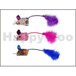 Hračka pro kočky FLAMINGO - Mohaire myš Glamour 3x4x19cm (3ks) (