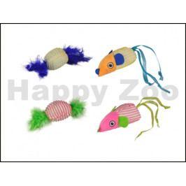 Hračka pro kočky FLAMINGO - Strech myš a míček 3x4x15cm (2ks) (M