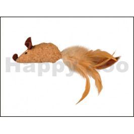 Hračka pro kočky FLAMINGO - korková myš s peřím a catnipem 20x5x